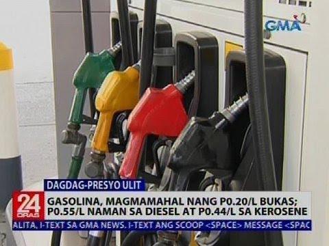 Gasolina, magmamahal nang P0.20/l bukas; P0.55/l naman sa diesel at P0.44/l sa kerosine