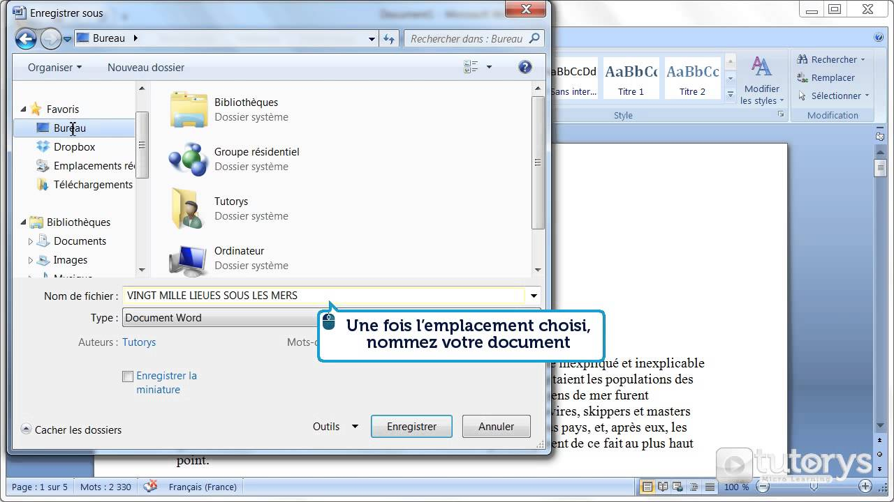 comment enregistrer un document avec word 2007
