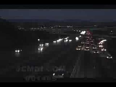 V01465 Antelope Valley Freeway evening traffic timelapse