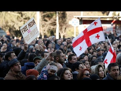 Thousands rally in Georgia to back opposition TV station