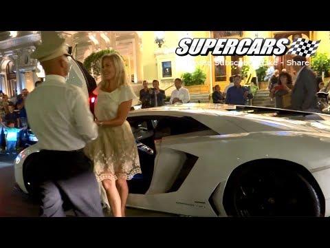 BLONDE GIRL DRIVING AVENTADOR IN MONACO - Girls driving Bugatti Veyron in Monaco!!