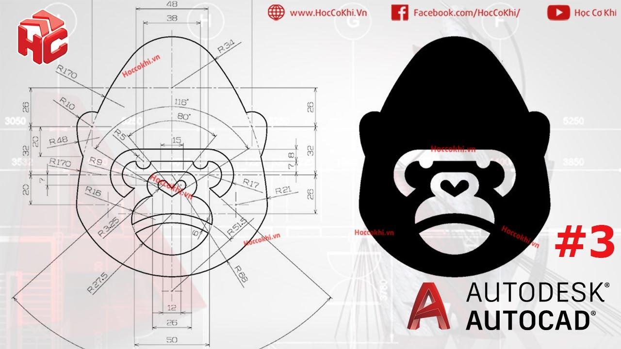 [hoccokhi] Bài tập autocad nâng cao – bài 03 | hướng dẫn vẽ đầu khỉ (KING KONG)
