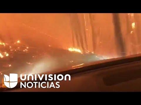 Un padre y su hijo conducen por 'un infierno' para escapar de las llamas
