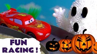 Disney Cars Toys McQueen Halloween Spooky Racing with Hot Wheels Ghosts & Spiders kids car play TT4U