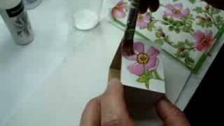Découpage com guardanapo em madeira