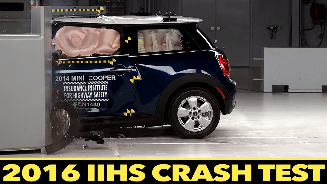 mini cooper 2016 crash test iihs small overlap crash test. Black Bedroom Furniture Sets. Home Design Ideas