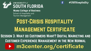 Post-Crisis Hospitality Management Certificate- Session 3
