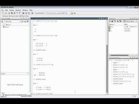 Matlab Essential Skills Sect 35 Solving Algebraic Equations Symbolically