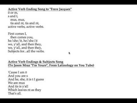 Active Verb Ending Songs for Latin - YouTube - active verbs