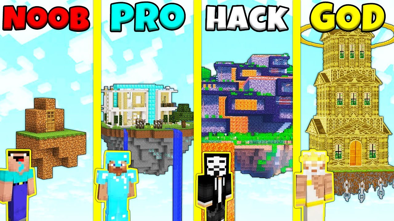 Download Minecraft Battle: NOOB vs PRO vs HACKER vs GOD: SKY ISLAND HOUSE BUILD CHALLENGE / Animation