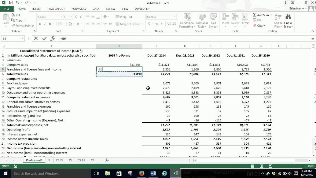 Pro forma Income Statement - YouTube