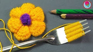 Truco de BORDADO DE FLORES CON UN TENEDOR - Bordado a Mano - flower embroidery with fork