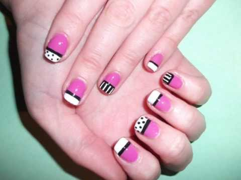 Candy Shop Pink black and white stripes and spots nail art tutorial - Candy Shop Pink Black And White Stripes And Spots Nail Art