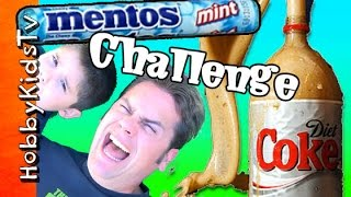 Mentos + Diet Coke Challenge! HobbyDad Candy Science Experiment by HobbyKidsTV