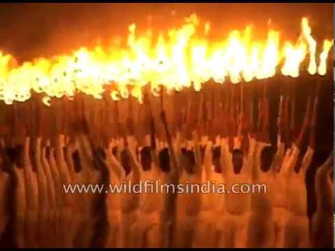 Mega display of torch lights by Karnataka police in Mysore