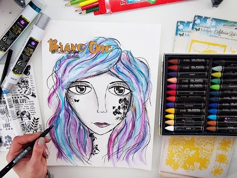 Mixed Media Drawing Face Tutorial 'Brave'