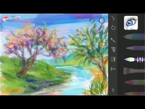 DIGITAL PAINTING: PaperDraw Android Application, Landscape (tree and river)