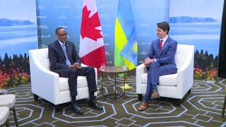 President Kagame meets with Prime Minister Justin Trudeau following the G7 Summit held in Quebec.