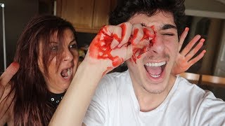 GLASS STUCK IN MY EYE PRANK!! (SHE FREAKED OUT)