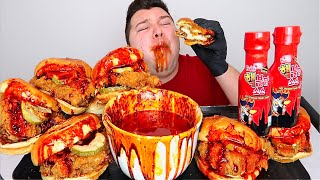 NUCLEAR FIRE POPEYES SPICY CHICKEN SANDWICH  Mukbang &amp Recipe