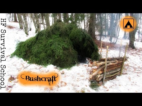 NEW! How to make a Winter Survival Shelter - Mountain Hut - Solo Bushcraft / Survival Overnight