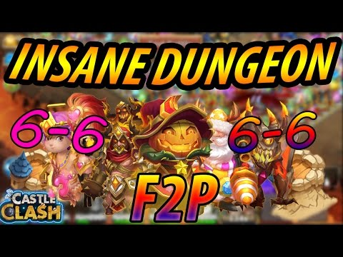 (F2P) HOW TO BEAT INSANE DUNGEON 6-6 -CASTLE CLASH