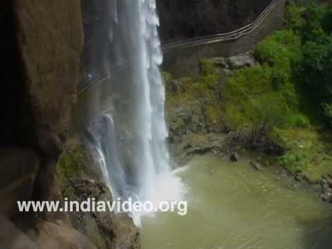Waterfall at Ellora, the rock cut shrines at Aurangabad