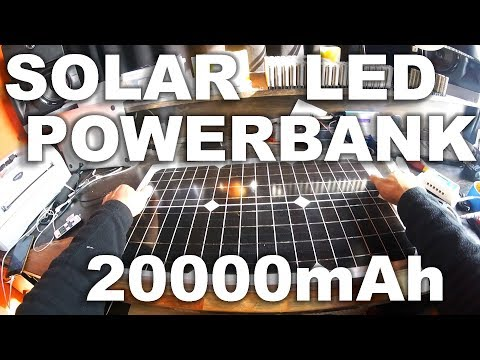 Solar Powerbank with 30W Panel, 12x 18650's and LED Light