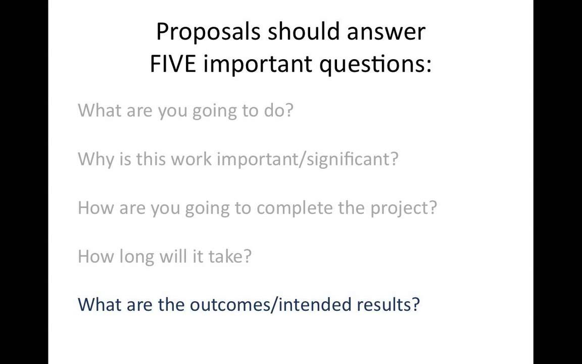 writing project proposals - How To Write A Proposal