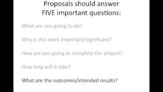 Writing a research project proposal