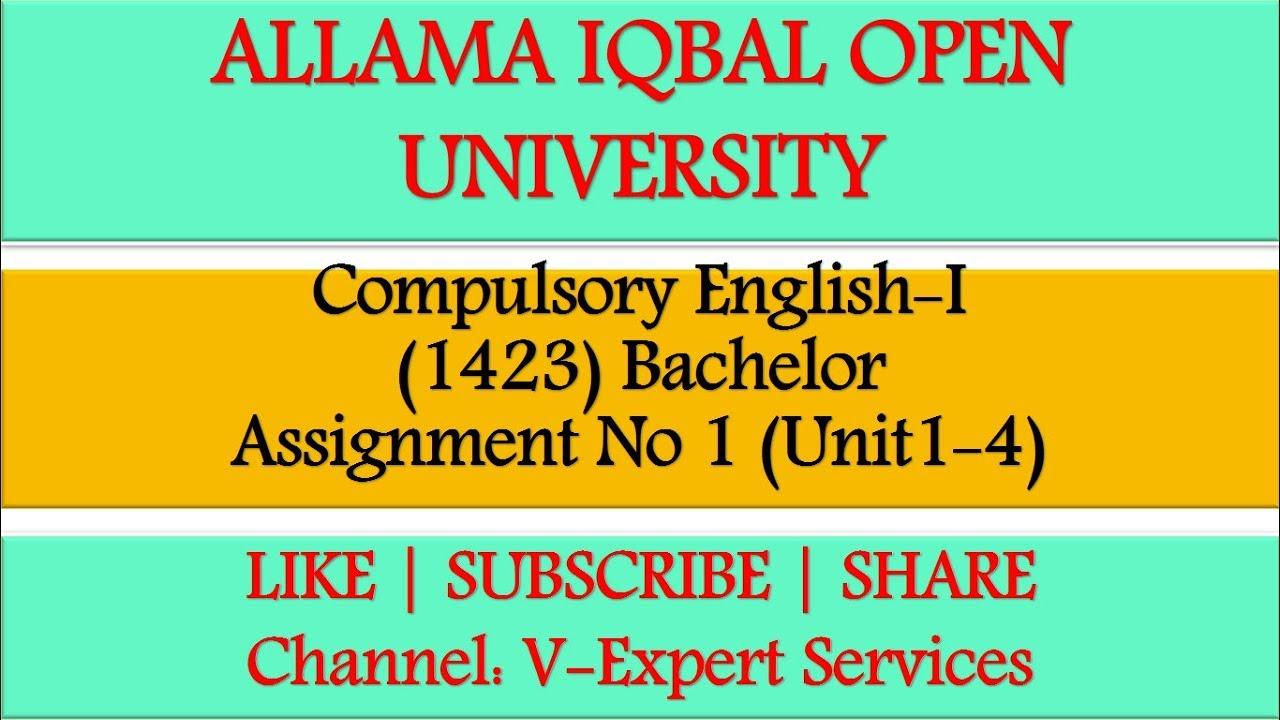 1423 Compulsory English I Assignment No 1 Solution 2020 Youtube