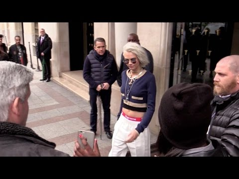 EXCLUSIVE: Cara Delevingne coming out of her hotel on her way to Chanel show in Paris