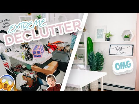 EXTREME DECLUTTER, ORGANIZE & TRANSFORM MY OFFICE!   MOTIVATIONAL DECLUTTER   PURGE + CLEAN WITH ME