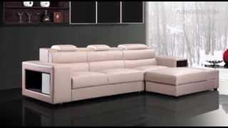 Polaris Mini   Contemporary Light Grey Leather Sectional Sofa