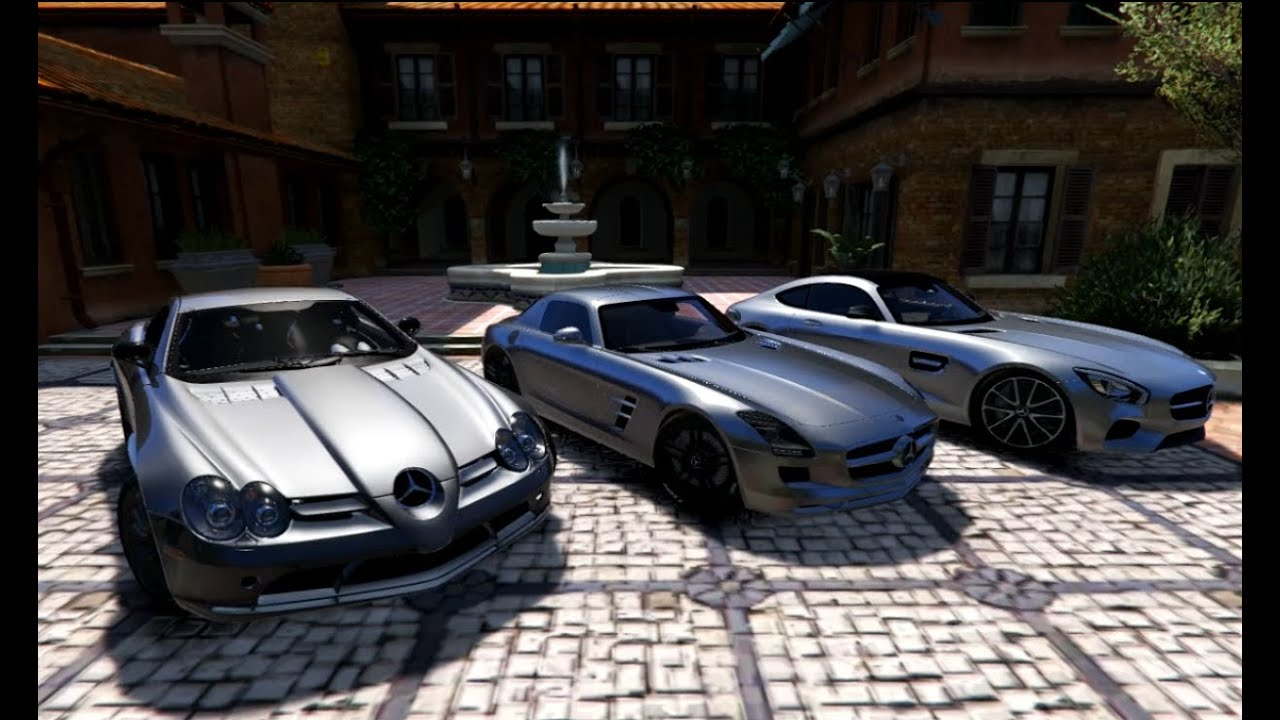 gta v mercedes slr vs mercedes sls vs mercedes amg gt gta 5 mod youtube. Black Bedroom Furniture Sets. Home Design Ideas