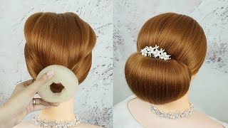 Easy Bun Hairstyles With Donut | How To Make Hairstyle For Bride | Low Chignon Hair Tutorial