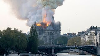 Notre Dame Cathedral on fire Paris France