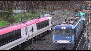 Rail transport in Japan【鉄道のある風景】分岐ポイントから富士急線に入る成田エクスプレス 行き交う機関車EH200トップナンバー