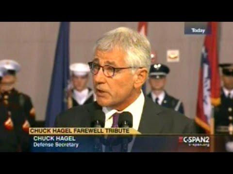 Defense Secretary Chuck Hagel Says Goodbye To The Pentagon