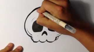 How to Draw a Cute Skull - Halloween Drawings