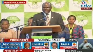 Video IEBC Chairman Wafula Chebukati's speech upon the announcement of the Presidential Results download MP3, 3GP, MP4, WEBM, AVI, FLV November 2017