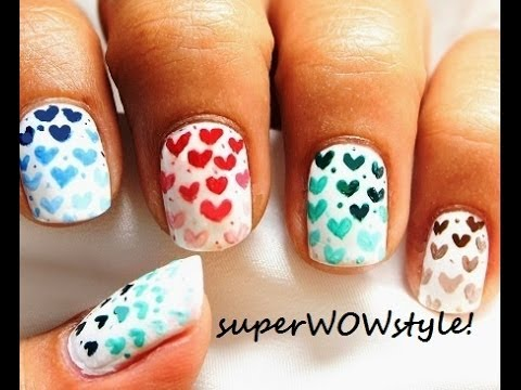 Ombre Hearts Using Toothpick Only Easy Nail Designs Youtube