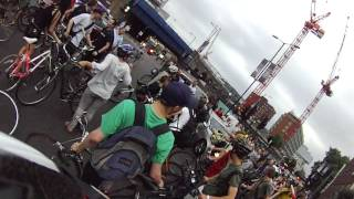 Critical Mass July 2012 Clash with Police on Blackfriars road, south of river