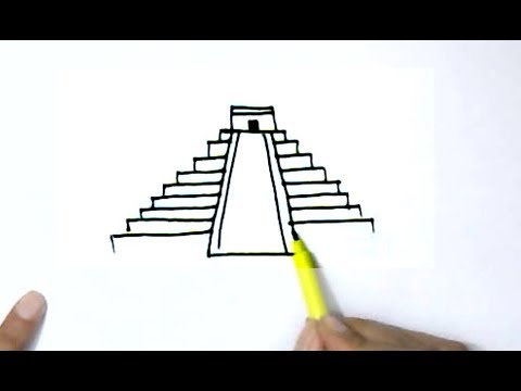 How to draw  Ziggurat or Mayan pyramid- step by step for children, kids, beginners