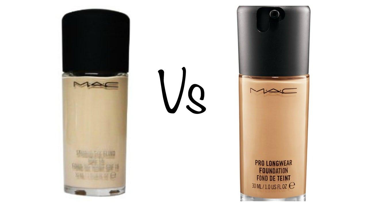 comparison mac studio fix fluid pro long wear foundation youtube