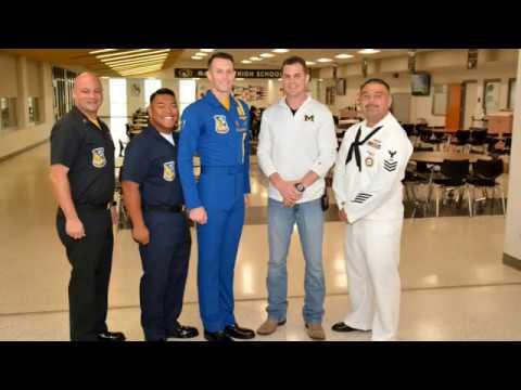 U.S. Navy Blue Angels Outreach visit to McGregor High School during Waco Navy Week