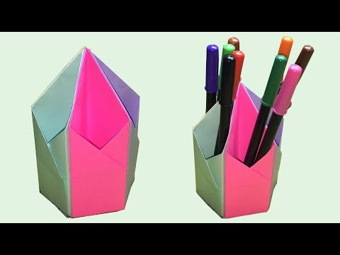 how to make a pen stand | pen holder diy | paper pencil holder | pencil stand | do it yourself 😍