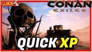 CONAN EXILES PS4/XB1/PC HOW TO GET XP FAST - SOUTHERN DESERT TIPS - ALL LANDMARKS
