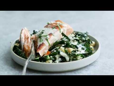 How to Make Quinoa Bowls with Seared Salmon and Massaged Kale
