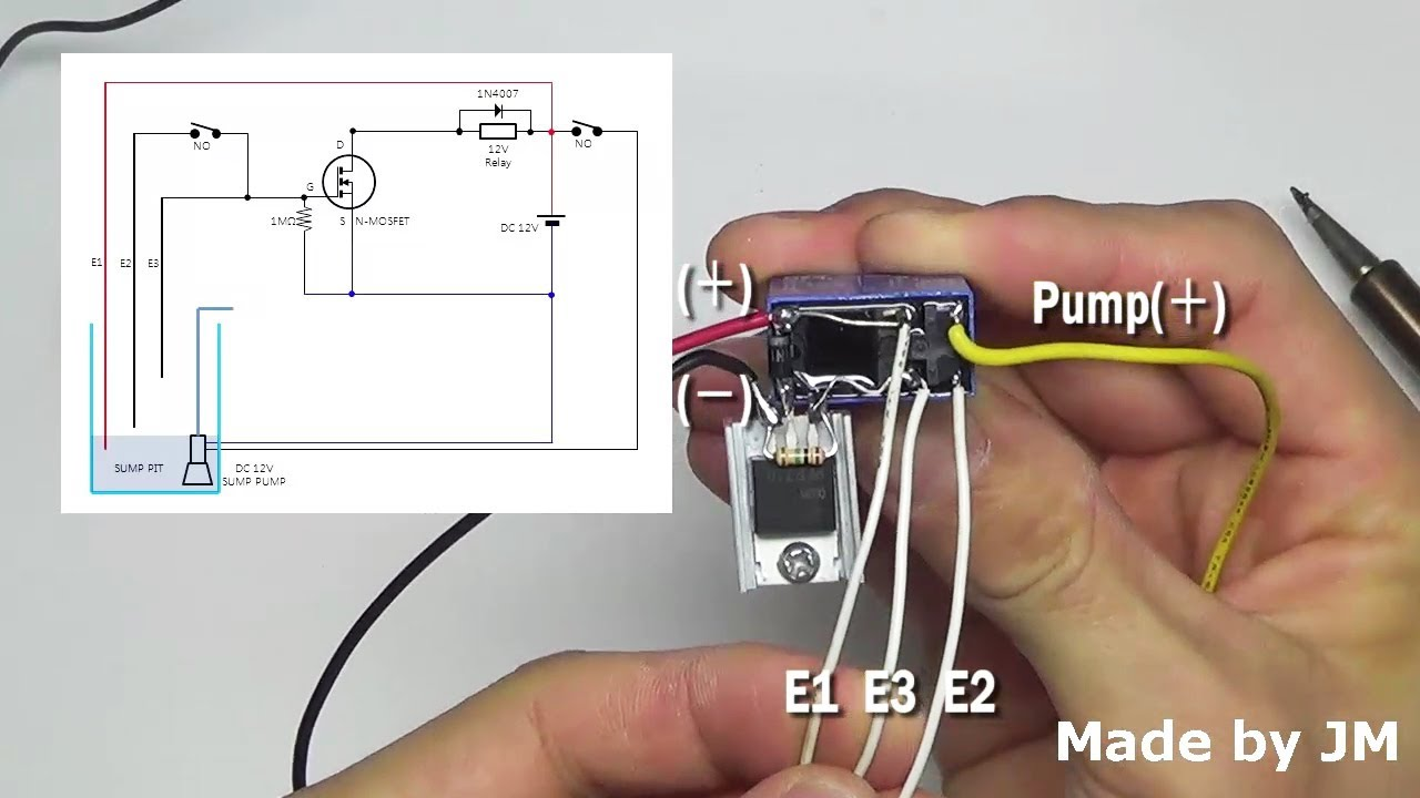 diy sump pump control circuit dc12v youtube sump pump control wiring diagram diy sump [ 1280 x 720 Pixel ]
